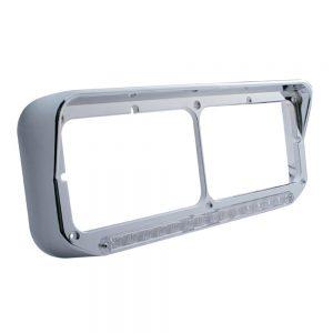 (CARD) CHROME PLASTIC 14 AMBER LED RECTANGULAR HEADLIGHT BEZEL W/ VISOR - CLEAR LENS