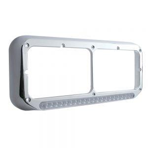 "(CARD) CHROME PLASTIC DUAL HEADLIGHT BEZEL W/ 19 AMBER LED 12"" REFLECTOR LIGHT BAR - CLEAR LENS"