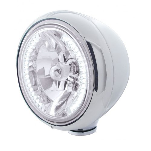 "(BOX) STAINLESS STEEL CLASSIC ""GUIDE"" HEADLIGHT W/ 34 WHITE LED CRYSTAL HALOGEN"