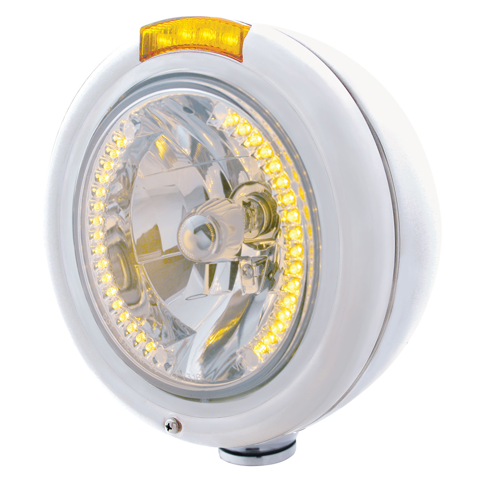 "(BOX) S.S. PB ""CLASSIC"" PB HEADLIGHT W/ AMBER DUAL FUNCTION SIGNAL LIGHT - 34 AMBER LED CRYSTAL HALOGEN"