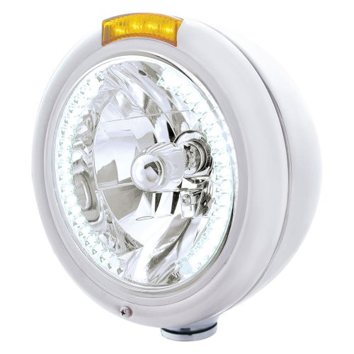 "(BOX) CHROME PB ""CLASSIC"" PB HEADLIGHT W/ AMBER SIGNAL LIGHT - 34 WHITE LED CRYSTAL HALOGEN"
