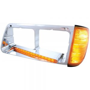 (BOX) 14 AMBER LED FREIGHTLINER FLD DRIVER SIDE HEADLIGHT BEZEL WITH TURN SIGNAL - AMBER LENS