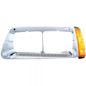(BOX) 14 AMBER LED FREIGHTLINER FLD DRIVER SIDE HEADLIGHT BEZEL WITH TURN SIGNAL - CLEAR LENS