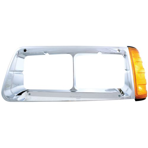 (BOX) 14 AMBER LED FREIGHTLINER FLD DRIVER SIDE HEADLIGHT BEZEL WITH TURN SIGNAL - CHROME LENS