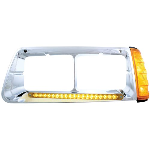 (BOX) 19 AMBER LED FREIGHTLINER FLD DRIVER SIDE HEADLIGHT BEZEL WITH TURN SIGNAL - AMBER LENS