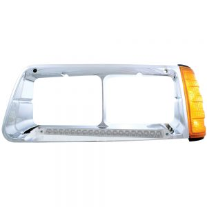 (BOX) 19 AMBER LED FREIGHTLINER FLD DRIVER SIDE HEADLIGHT BEZEL WITH TURN SIGNAL - CLEAR LENS