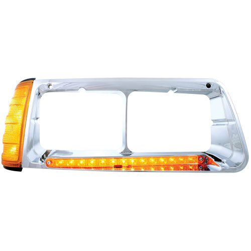 (BOX) 14 AMBER LED FREIGHTLINER FLD PASSENGER SIDE HEADLIGHT BEZEL WITH TURN SIGNAL - AMBER LENS