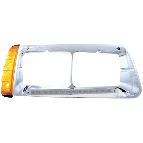 (BOX) 14 AMBER LED FREIGHTLINER FLD PASSENGER SIDE HEADLIGHT BEZEL WITH TURN SIGNAL - CLEAR LENS