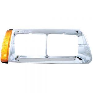 (BOX) 14 AMBER LED FREIGHTLINER FLD PASSENGER SIDE HEADLIGHT BEZEL WITH TURN SIGNAL - CHROME LENS