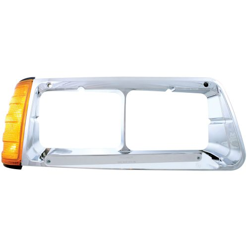(BOX) 14 AMBER LED FREIGHTLINER FLD PASSENGER SIDE HEADLIGHT BEZEL WITH TURN SIGNAL - CHROME LENS