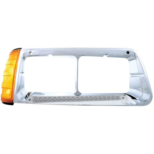 (BOX) 19 AMBER LED FREIGHTLINER FLD PASSENGER SIDE HEADLIGHT BEZEL WITH TURN SIGNAL - CLEAR LENS
