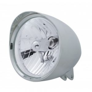 """(BOX) CHROME ALUMINUM 7"""" BILLET STYLE """"CHOPPER"""" MOTORCYCLE MOUNT HEADLIGHT WITH SMOOTH VISOR - CRYSTAL H4 HALOGEN"""