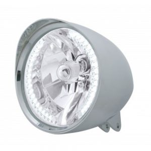 "(BOX) CHROME ALUMINUM 7"" BILLET STYLE ""CHOPPER"" MOTORCYCLE MOUNT HEADLIGHT WITH SMOOTH VISOR - 34 WHITE AUXILIARY LED"