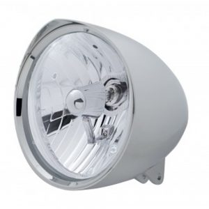 "(BOX) CHROME ALUMINUM 7"" BILLET STYLE ""CHOPPER"" MOTORCYCLE MOUNT HEADLIGHT WITH RAZOR VISOR - CRYSTAL H4 HALOGEN"