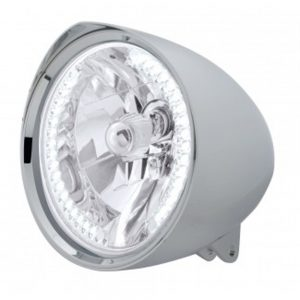 "(BOX) CHROME ALUMINUM 7"" BILLET STYLE ""CHOPPER"" MOTORCYCLE MOUNT HEADLIGHT WITH RAZOR VISOR - 34 WHITE AUXILIARY LED"