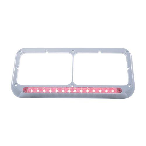 (CARD) CHROME PLASTIC 14 RED LED RECTANGULAR HEADLIGHT BEZEL - CLEAR LENS