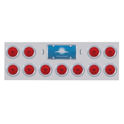 "(BULK) STAINLESS STEEL REAR LIGHT PANEL W/ ELEVEN 10 RED LED 4"" LIGHT W/ BEZEL - RED LENS"