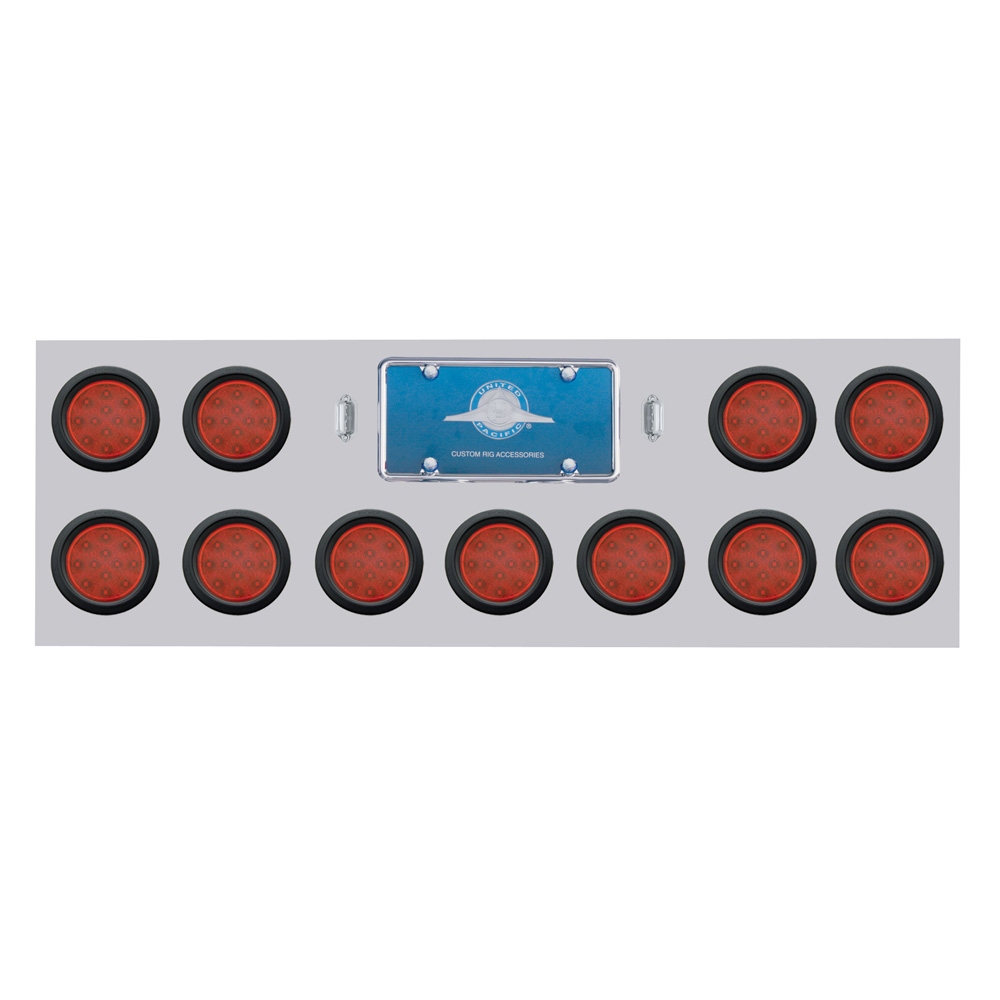 "(BULK) STAINLESS STEEL REAR LIGHT PANEL W/ ELEVEN 12 RED LED 4"" REFLECTOR LIGHT W/ GROMMET - RED LENS"