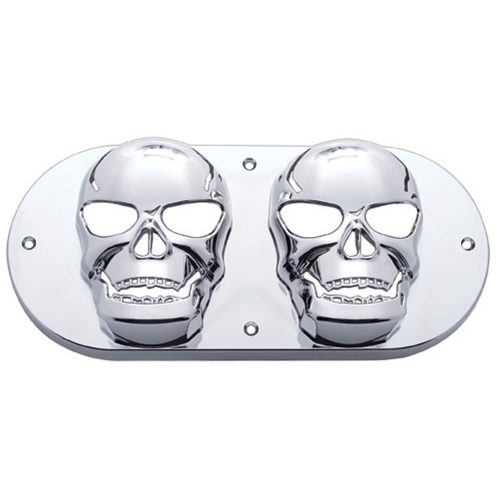 (CARD) CHROME OVAL LIGHT SKULL BEZEL