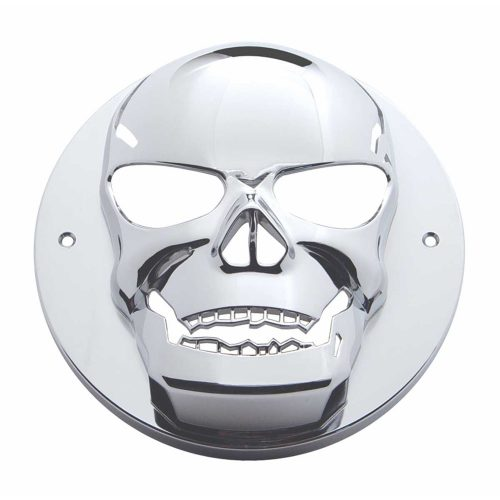 "(CARD) CHROME 2"" LIGHT SKULL BEZEL"