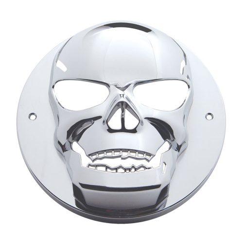 "(CARD) CHROME 2 1/2"" LIGHT SKULL BEZEL"