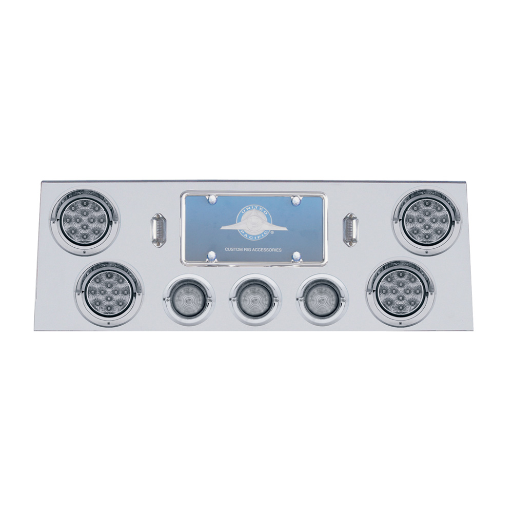 "(BULK) S.S. REAR CENTER LT PANEL W/ FOUR 12 LED 4"" & THREE 13 LED 2 1/2"" BHIVE LT W/ VISOR - RED LED/CLEAR LENS"