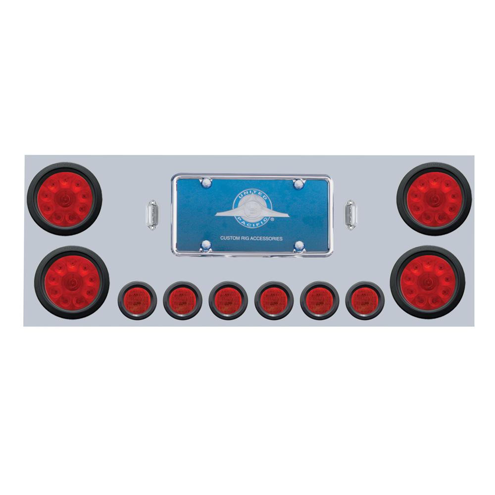 """(BOX) S.S. REAR CENTER LIGHT PANEL W/ FOUR 10 LED 4"""" & SIX 9 LED 2"""" FLAT LIGHT W/ GROMMET - RED LED/RED LENS"""