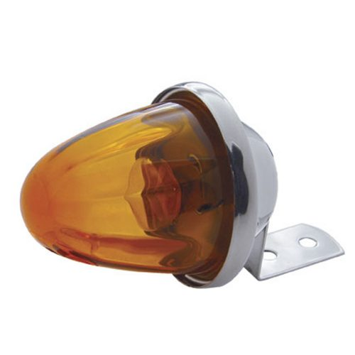 (CARD) INCANDESCENT CHROME MEDIUM GLASS MARKER LIGHT - AMBER