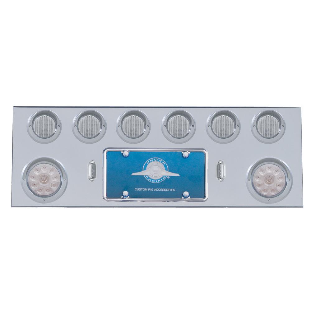 """(BULK) S.S. REAR CENTER LIGHT PANEL W/ TWO 10 LED 4"""" & SIX 13 LED 2 1/2"""" FLAT LT W/ VISOR - RED LED/CLEAR LENS"""