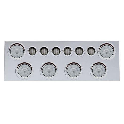 """(BULK) 430 S.S. REAR CENTER LIGHT PANEL W/ SIX 10 LED 4"""" & 9 LED 2"""" FLAT LIGHT W/ VISOR - RED LED/CLEAR LENS"""