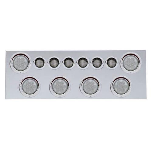 """(BULK) 430 S.S. REAR CENTER LIGHT PANEL W/ SIX 7 LED 4"""" & 9 LED 2"""" FLAT LIGHT W/ VISOR - RED LED/CLEAR LENS"""