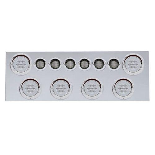 """(BULK) 430 S.S. REAR CENTER LIGHT PANEL W/ SIX 21 LED 4"""" HALO & 9 LED 2"""" FLAT LIGHT W/ VISOR - RED LED/CLEAR LENS"""