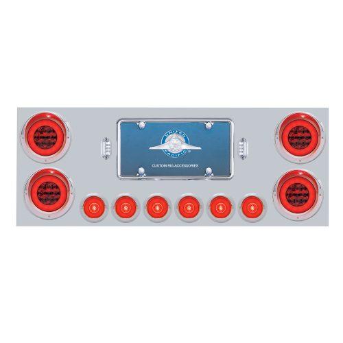 """(BOX) 430 S.S. REAR CENTER LIGHT PANEL W/ SIX 21 LED 4"""" GLO & 9 LED 2"""" GLO LIGHT W/ VISOR - RED LED/RED LENS"""