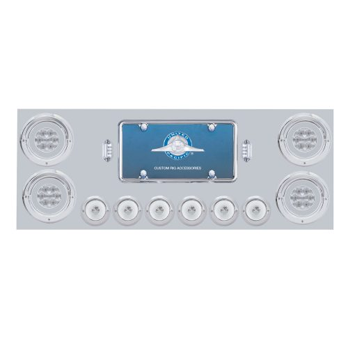 "(BOX) 430 S.S. REAR CENTER LIGHT PANEL W/ FOUR 21 LED 4"" GLO & SIX 6 LED 2"" GLO LIGHT W/ VISOR - RED LED/CLEAR LENS"
