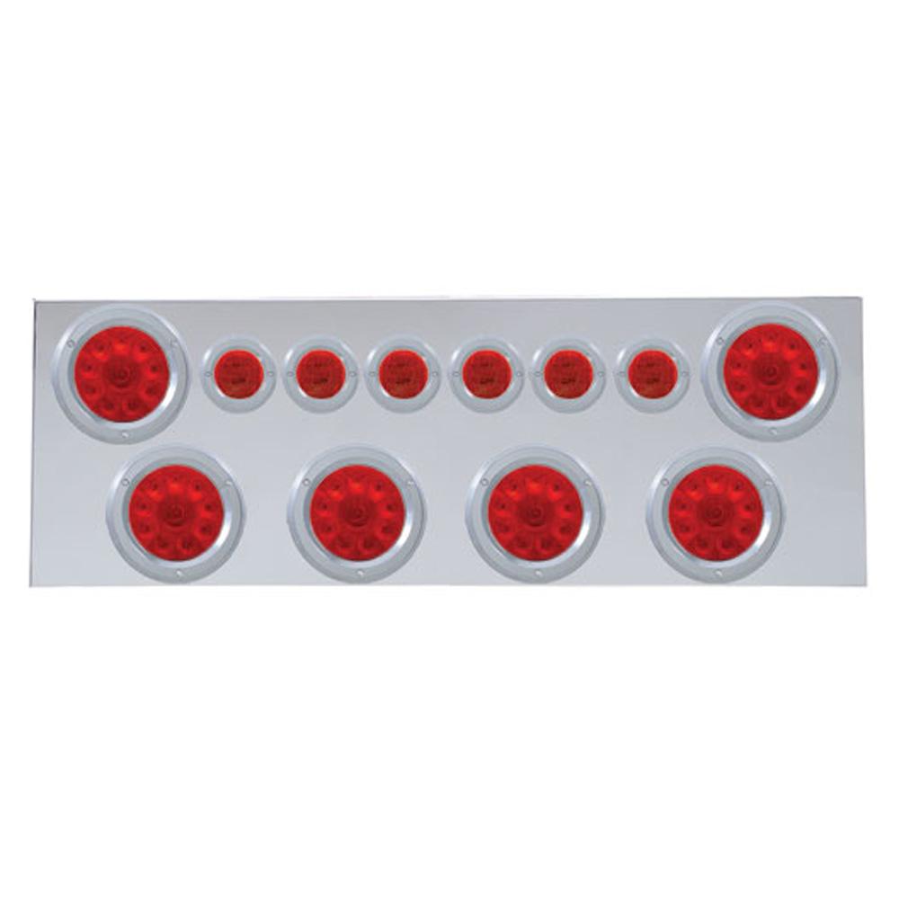 """(BULK) 430 S.S. REAR CENTER LIGHT PANEL W/ SIX 10 LED 4"""" & 9 LED 2"""" FLAT LIGHT W/ BEZEL - RED LED/RED LENS"""