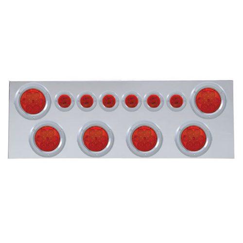 """(BULK) 430 S.S. REAR CENTER LIGHT PANEL W/ SIX 7 LED 4"""" & 9 LED 2"""" FLAT LIGHT W/ BEZEL - RED LED/RED LENS"""