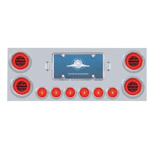 """(BOX) 430 S.S. REAR CENTER LIGHT PANEL W/ SIX 21 LED 4"""" GLO & 9 LED 2"""" GLO LIGHT W/BEZEL - RED LED/RED LENS"""