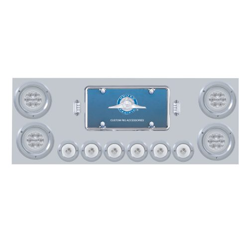 "(BOX) 430 S.S. REAR CENTER LIGHT PANEL W/ SIX 21 LED 4"" GLO & 9 LED 2"" GLO LIGHT W/BEZEL - RED LED/CLEAR LENS"