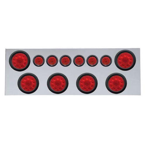 """(BULK) 430 S.S. REAR CENTER LIGHT PANEL W/ SIX 10 LED 4"""" & 9 LED 2"""" FLAT LIGHT W/ GROMMET - RED LED/RED LENS"""