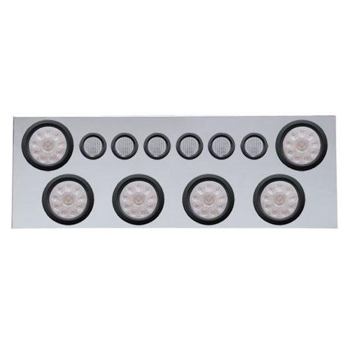"""(BULK) 430 S.S. REAR CENTER LIGHT PANEL W/ SIX 10 LED 4"""" & 9 LED 2"""" FLAT LIGHT W/ GROMMET - RED LED/CLEAR LENS"""
