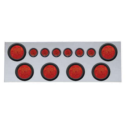 """(BULK) 430 S.S. REAR CENTER LIGHT PANEL W/ SIX 7 LED 4"""" & 9 LED 2"""" FLAT LIGHT W/ GROMMET - RED LED/RED LENS"""