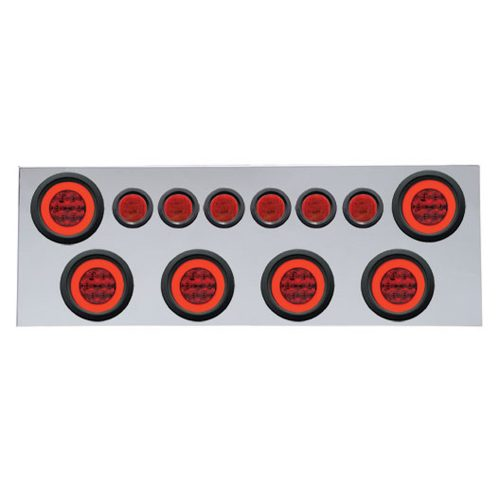 """(BULK) 430 S.S. REAR CENTER LIGHT PANEL W/ SIX 21 LED 4"""" HALO & 9 LED 2"""" FLAT LIGHT W/ GROMMET - RED LED/RED LENS"""