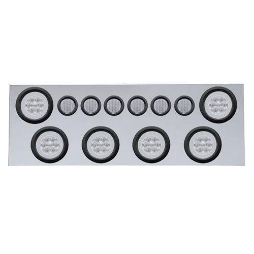 """(BULK) 430 S.S. REAR CENTER LIGHT PANEL W/ SIX 21 LED 4"""" HALO & 9 LED 2"""" FLAT LIGHT W/ GROMMET - RED LED/CLEAR LENS"""