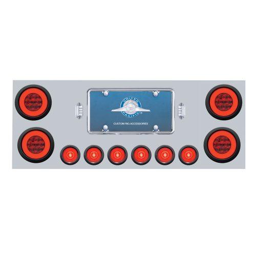 """(BOX) 430 S.S. REAR CENTER LIGHT PANEL W/ SIX 21 LED 4"""" GLO & 9 LED 2"""" GLO LIGHT W/GROMMET - RED LED/RED LENS"""