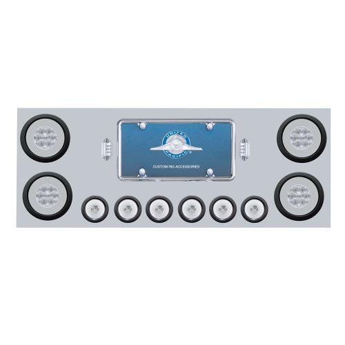 """(BOX) 430 S.S. REAR CENTER LIGHT PANEL W/ SIX 21 LED 4"""" GLO & 9 LED 2"""" GLO LIGHT W/GROMMET - RED LED/CLEAR LENS"""