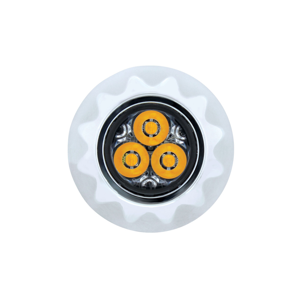 (BULK) 3 HIGH POWER LED MINI WARNING LIGHT - AMBER LED/CLEAR LENS