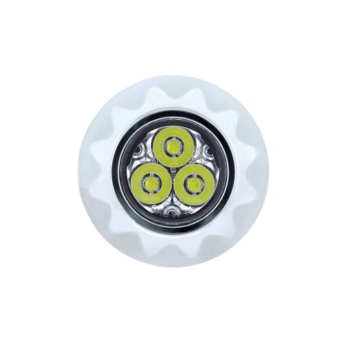 (BULK) 3 HIGH POWER LED MINI WARNING LIGHT - WHITE LED/CLEAR LENS
