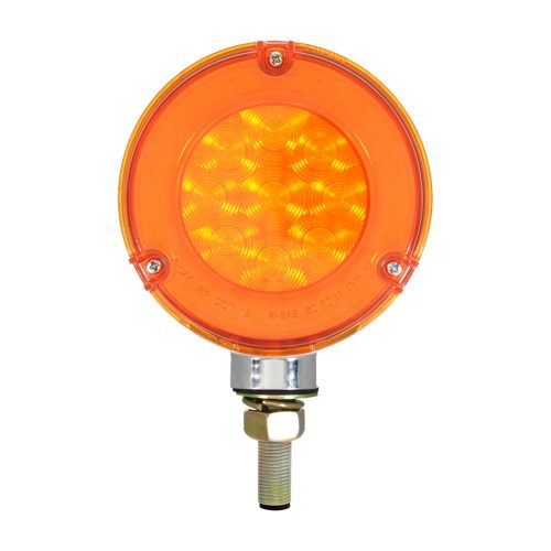 """(CARD) CHROME HOUSING 27 AMBER/27 RED LED DOUBLE FACE """"GLO"""" TURN SIGNAL LIGHT - AMBER/RED LENS"""