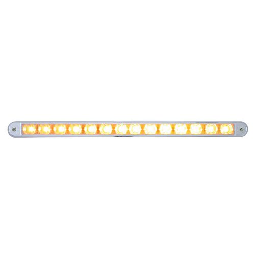 "(CARD) 14 AMBER LED 12"" AUXILIARY WARNING LIGHT BAR WITH CHROME BEZEL - CLEAR LENS"