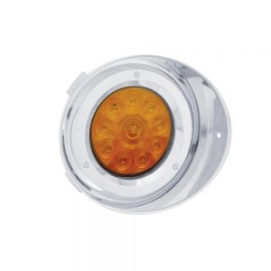 (CARD) 10 AMBER LED FREIGHTLINER PASSENGER SIDE DRL CONVERSION KIT WITHOUT REFLECTOR WITH VISOR - AMBER LENS